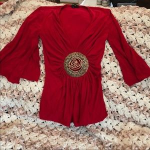 Xs red sleve sky top